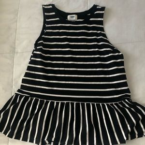 Old Navy Black and White Striped Peplum Tank